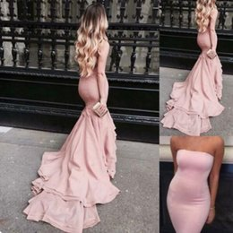 Wholesale Tight Long Sequin Dresses - Blush Pink Mermaid Prom Dresses Strapless Satin Bodycon Evening Gowns With Court Train Tight Long Special Occasions Dress
