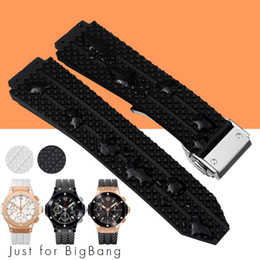 Wholesale Fashion Strap Leather Bracelet - 25x19mm Watch Bands for Big Bang Sports Man Straps Rubber Silicone Deployment Clasp for HU B Man Black Waterproof + Free Tools
