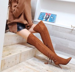 Wholesale Pull Boots - Hot sale Fashion Women Boots Sexy Casual Squre High Heels Platform Pull Up Over Knee Boots High Heels Platform boots Big size 34-43