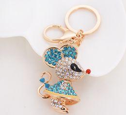 Wholesale Korean Cute Little Boy - South Korean creative gift crystal water drill cute little mouse car key chain jewelry .Cute little mouse