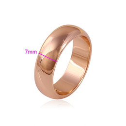 Wholesale Thick 18k Gold Rings - High quality 7mm wide thick wedding rings real 18K rose Gold Plated lovers pinky ring For women And men USA SIZE