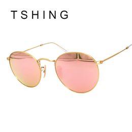 Wholesale Designer R - Wholesale- TSHING Vintage Small Round Sunglasses Women Men Classic Brand Designer Metal Pink Retro Mirror Sun Glasses Female Lady UV400 R