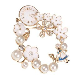 Wholesale Wreath Easter - Alice in wonderland Inspired Jewelry Chic Enamel Alice wreath pearl Clock Brooch Pins for party gift