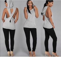Wholesale Hoodie Vest Women - Women's Clothing 2017 Casual Women Dropped Armhole Tank Top Cotton Sleeveless Hoodie Tee Shirts Vest Fitness Hooded Sweatshirt