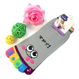 Wholesale Cartoon Faces Socks - Wholesale-Christmas Women's Cartoon Short Socks Girls Smile Face Low Cut Ankle Sock Women Casual Cotton Five Fingers Trainer Toe Sock