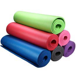 Wholesale Anti Skid Pvc - 6 Colors High Quality 183 x 61 x 1cm NBR Multifunction Yoga Mat 10mm Anti-skid Yoga Mat Nonslip Gym Pilate EVA Yoga Mat Fitness +B