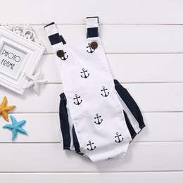Wholesale Toddler Girl Suspender Outfits - Baby sea anchor suspender romper infants boys girls navy striped bowknot jumpsuit for 0-2T toddlers cute summer outfits