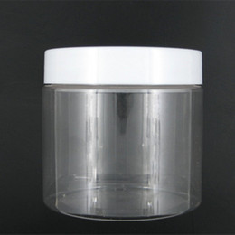 Wholesale Clear Plastic Pet Containers - Wholesale- 10pcs lot 200ml round clear pet jar bottle container with white plastic cap lid , for Packaging,
