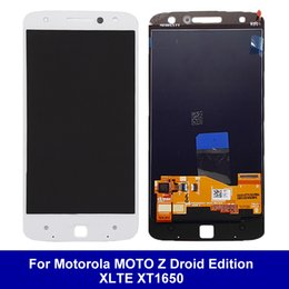 Wholesale Droid Lcd Screen - LCD Display For Motorola MOTO Z Droid Edition XLTE XT1650 with Touch Screen Digitizer Full Assembly AAA+++ Genuine Same Day Shipping White