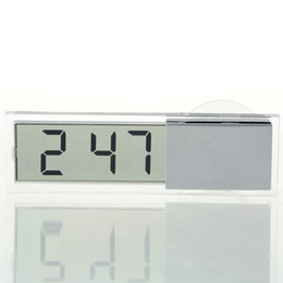 Wholesale Digital Transparent Clock - Wholesale-1pcs Durable Transparent Car Electronic Clock Mini LCD Display Digital with Sucker Newest Hot Search
