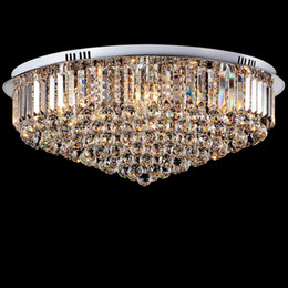 Wholesale Silver Chandeliers Light - Led Crystal Ceiling Light Round E14 Chandelier Fitting Lamp K9 Crystal Silver Chrome Ceiling Pendant Light for Living room