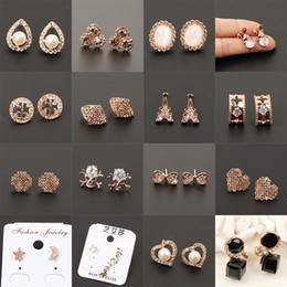 Wholesale Wholesale Studs Korea - South Korea female temperament alloy fashion earring set auger earrings wholesale supplies manufacturer