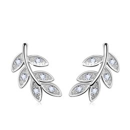 Wholesale Sterling Leaf - PATICO 2017 New Simple Fashion 925 Sterling Silver Leaf Olive Branch Stud Earrings Prevent Allergy Brincos Piercing Ear Jewelry