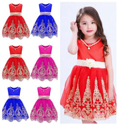 Wholesale Wholesale Evening Lace Gowns - Baby Clothes Girls Dresses Princess Party Summer Evening Dresses Bowknot Princess Costume Embroidered Dresses Girls Clothes Free Shipping