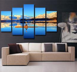 Trabajo de oficina online-Azul Vista al Mar Nubes Moutian Amarillo Muralla Arte Lienzo Pinturas Decoración de la pared Home Office Artwork Wall Artwork Home Decor