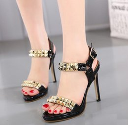 Wholesale Ladies Party Wear Shoes - 2017 New Black Gold Rivet High Heel PU Leather Shoes Women Sexy Lady Party Wear size 35 to 40