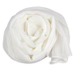 Wholesale Chiffon Neck Scarves - Wholesale- Fashion Ladies White Soft Long Large Chiffon Scarf Neck Head