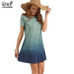 Wholesale Color Block Shirt Dress - Wholesale- Dotfashion Multicolor Patchwork Short Sleeve T-shirt Dress Female Summer Color Block Round Neck Loose Mini Dress