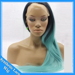 Wholesale Blue Green Baby Hair - Ombre Mint Blue Green Synthetic Lace Front Wig Silky Straight Wigs Glueless Heat Resistant TwoTone baby hair blue ombre Hair Wig