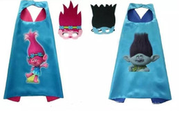 Wholesale Blend Mask - Trolls Kids Cosplay Capes + Eye Mask Forest Poppy Cartoon Troll of children Cape & Mask L70*W70CM Double Side cape + mask set DHL Shipping