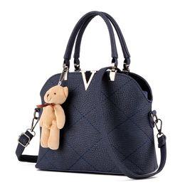 Wholesale Two Teddy Bears - Women Handbag With A Teddy Bear High Guality Designer Handbag Artificial PU Leather Tote Bag Female Handbag
