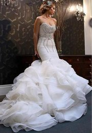 Wholesale Beaded Corsets - Stunning Beaded Crystal Mermaid Wedding Dresses 2018 Sweetheart Tiered Tulle Chapel Train Corset Bridal Gowns Custom Made
