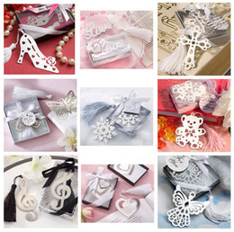 Wholesale Wholesale Gift Packaged Bookmarks - Wholesale-Metal Bookmark with Tassel Book Markers Wedding Souvenirs Baby Shower Party Favors and Gifts Gift Box Packaging 10pcs lot