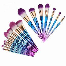 Wholesale Make Up Blusher Brush - Makeup Brushes set Unicorn Diamond 7pcs 10pcs blue pink rose gold Professional foundation eyeshadow blusher Multipurpose Make up Brush