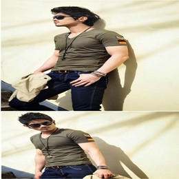 military t shirts wholesale Promo Codes - army military slim fit air forceT-shirt, New Men's Casual V Neck T-Shirts Tee Shirts Slim Fit Tops Short Sleeve T Shirt