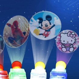Wholesale Toy Kid Pictures - LED MINI Finger Lamp Cartoon Projection Finger Movie Lights Different Pictures Lights Light-up Rings Party Kids Toy For Children Gift