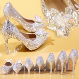 Wholesale Silver Beaded Heels - Handmade Rhinestone Crystal Shoes for Wedding High Heels Women Thin Heels Platform Butterfly Cinderella Sandals Bridal Prom Shoes Banquet