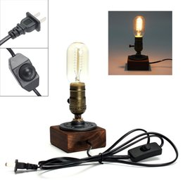 Wholesale Wood Lamp Base - Retro Style Vintage Industrial Single Socket Table Bedside Desk Lamp Wooden Base Creative Edison Light Bulb Home Shop Decoration LEG_40E