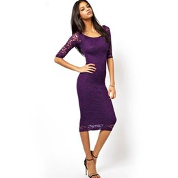 Wholesale Midi Pencil Skirt Dresses - 2017, the new summer, Europe and America fashion women's seven points sleeve, self-cultivation lace embroidered dress, female A skirt
