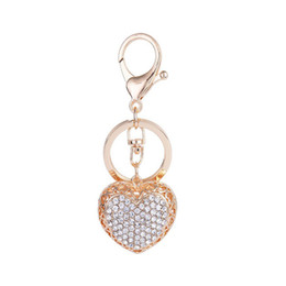 Wholesale Metal Heart Ornaments - Fashion Jewelry Gold Plated Full Rhinestone Pendant Love Heart Alloy Car Keychain Bag Ornaments Party Gift Key Ring Jewelry