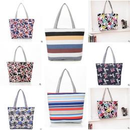 Wholesale Wave Handbag - Women Bags Mickey Canvas Wave Stripes Handbags Luxury Beach bag 25 Designs Fashion Flower Printing Handbags Ladies Shoulder Bag Totes