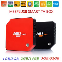 Wholesale Smart Tv Bluetooth - 3GB RAM 32GB Amlogic S912 Android 7.1 TV Box M8S Plus II Octa Core 2.4 5.8Ghz Wifi BT4.0 4K H.265 1000M Smart Media Player MXQ T95