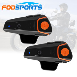 Wholesale Helmet Motorcycle Intercom - Wholesale- RU Stock,2 pcs Waterproof 100% Motorcycle Helmet Intercom BT-S2 Moto Bluetooth Interphone Headset with FM function