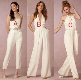 Wholesale Backless Halter Plunge Dress - 2018 Elegant jumpsuit bridesmaid dresses for wedding halter plunging v-neck backless wedding guest dresses party dresses formal gown
