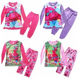 Wholesale Good Kids Clothing - 2017 Spring Trolls Pijamas Kids Long Sleeve Pajamas For Girls Clothing Set The Good Luck Trolls T shirt+Pants Children Sleepwear