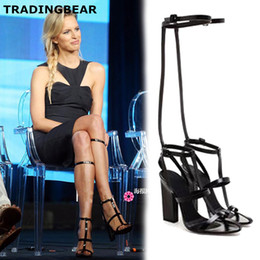 Wholesale T Strap Thick Heel Sandals - New thick high heels sandals black white T strap ankle wrap with buckle shoes white black Size 35 To 40