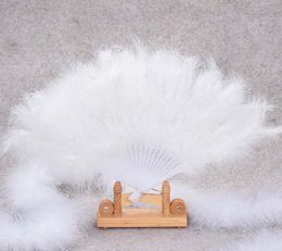 Wholesale Handmade Party Favors - 2017 New DIY Handmade Chinese Folding Marabou Feather Hand Fan Stage Dance Performance Props Wedding Party Favors Decoration