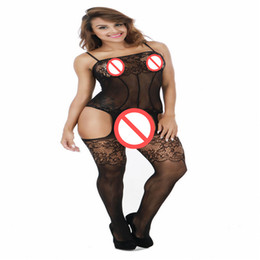 Wholesale Sexy Socks Uniform - Sexy lingerie women's transparent hollow out the filar socks tight net conjoined open files condole uniforms