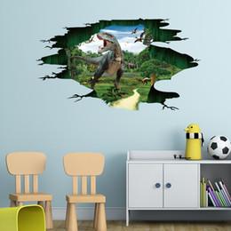 Affiches de dinosaures en Ligne-Dinosaur Paradise stickers muraux cassé 3d autocollant mural amovible pour chambres d'enfants pépinière de vinyle stickers affiche décor à la maison