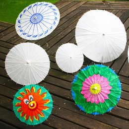 Wholesale Children DIY Hand Painted Blank Paper Umbrella White Art Hand Craft Bridal Wedding Parasols Umbrellas Have Big Medium Small Sizes zy4R