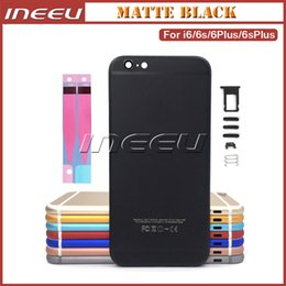 Wholesale Iphone Housing Cases - Metal Back Housing Covers for iPhone 6 PlusAluminum Alloy Matte Black Middle Frame Battery Door Replacement Cover Case for Apple 6S Plus