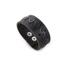 Wholesale Z 5r - 2016 New Style Monogram Z Leather Cuff Wide Bracelet Black Plated Alloy Leather Bracelet For Women Men Jewelry Gift BX109