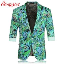 Wholesale Three Quarter Sleeve Suit Jacket - Wholesale- Men Floral Blazer Suit Brand Casual Business Cotton Suit Blazer Spring Autumn Three Quarter Plus Size Korean Suit Jacket F2228