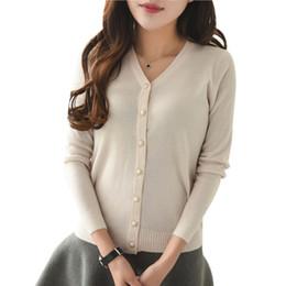 Wholesale Thin White V Neck Sweater - Wholesale- Fashion Women Cardigan Knitwear Casual Crochet Sweater Long Sleeve Slim Sweaters Lady Coat