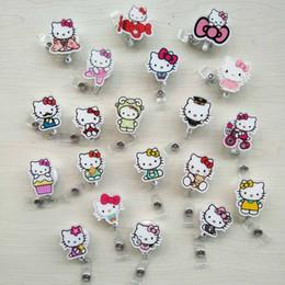 Titolare della carta di nome acrilico online-20 pz / lotto Cute Cartoon KT Cat acrilico retrattile Badge Reel Exihibiton ID Nome Carta Badge Holder Forniture per ufficio