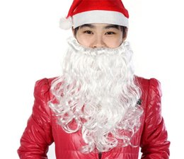 Wholesale Merry Christmas Costume - Merry Christmas Santa Claus Beards Costume Mustache False Beard Santa Claus White Beard Santa Claus Costume Halloween Beard